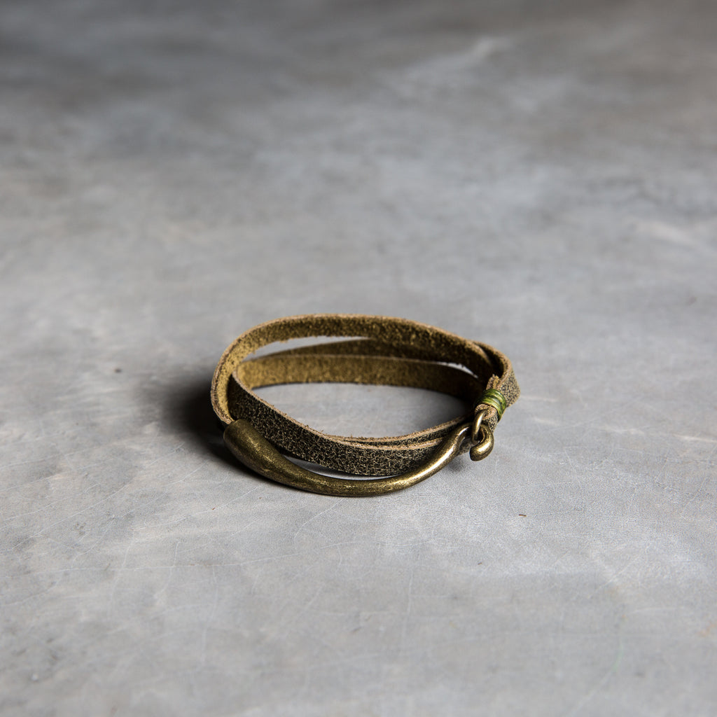 olive green leather wrap bracelet