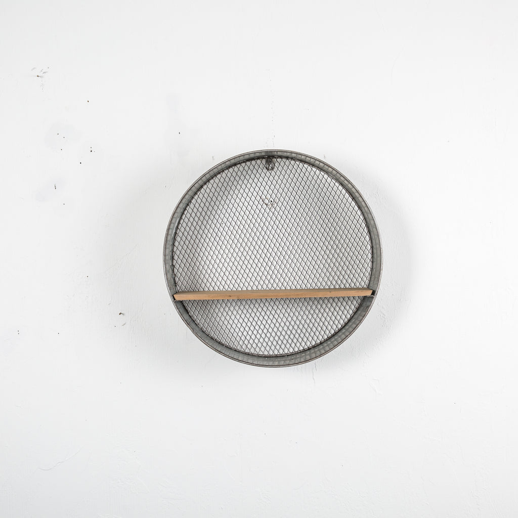 wall mounted metal circle with wooden shelf