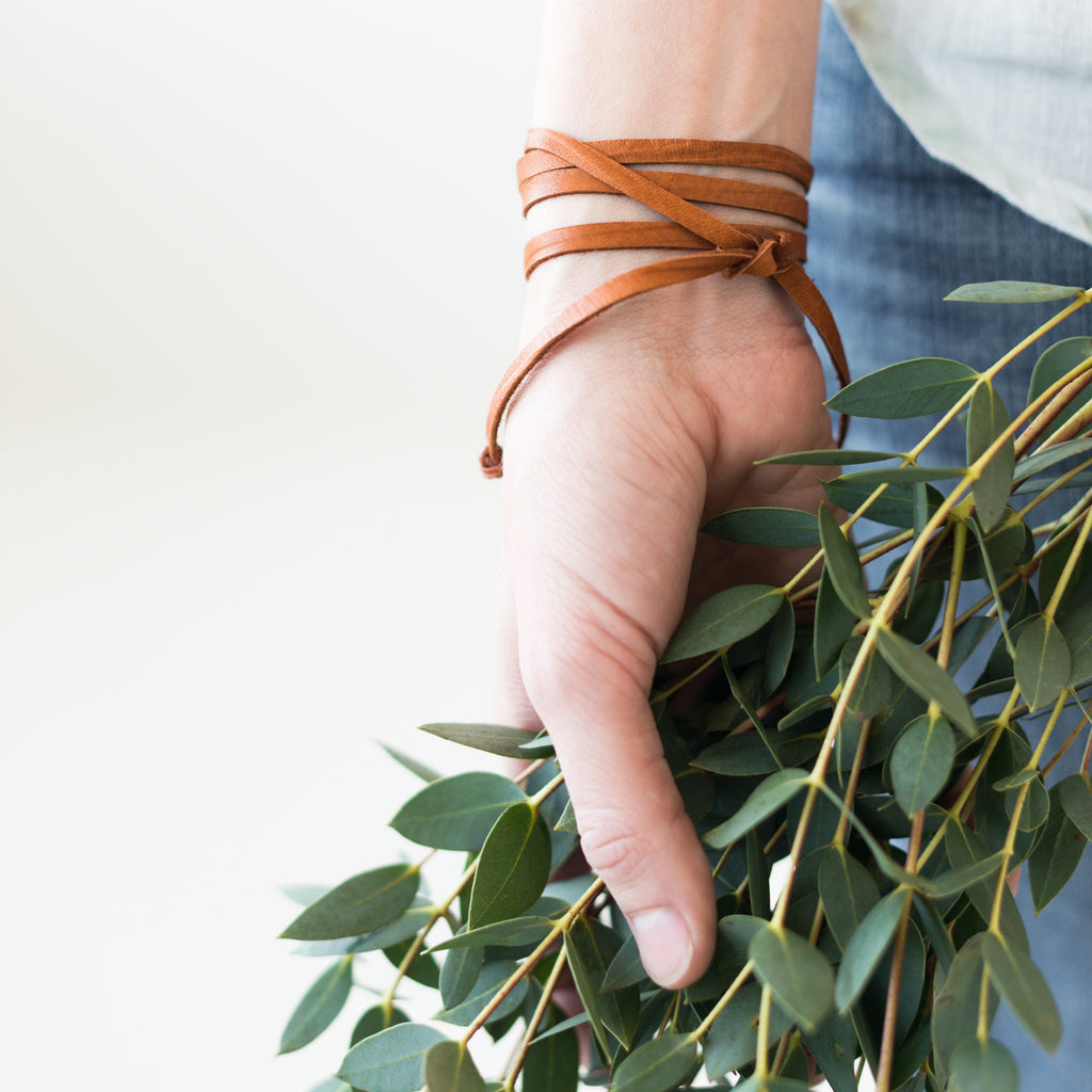 thin dark leather wrap bracelet