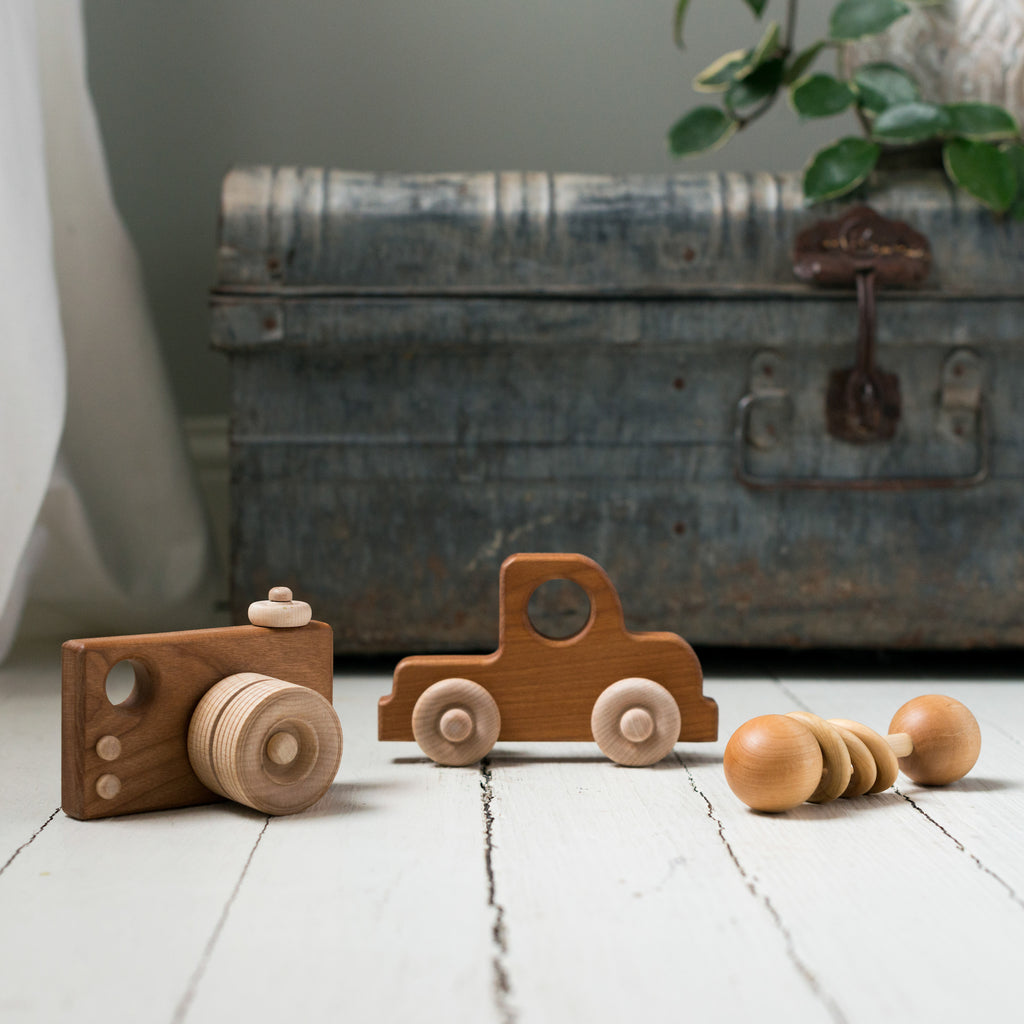wooden camera truck and rattle toys