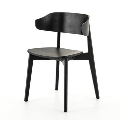 modern black wood curved back dining chair