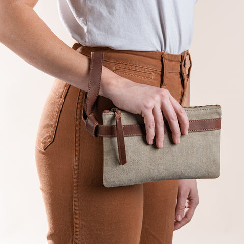 khaki canvas wristlet with leather wrist loop