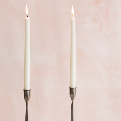 12 inch hand dipped shell white taper candle pair with spun finish