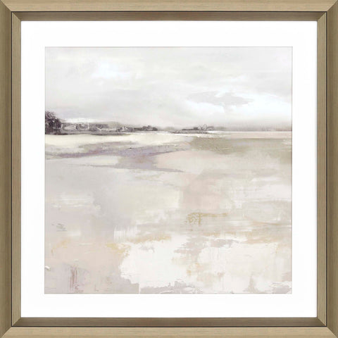 abstract painting of a grey-scale seaside in wooden frame with white mat