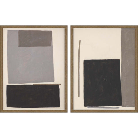 abstract painting of rectangular grey-scale shapes in wooden frame