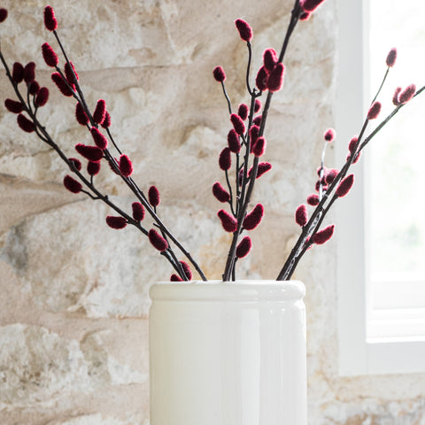 faux burgundy pussy willow stem