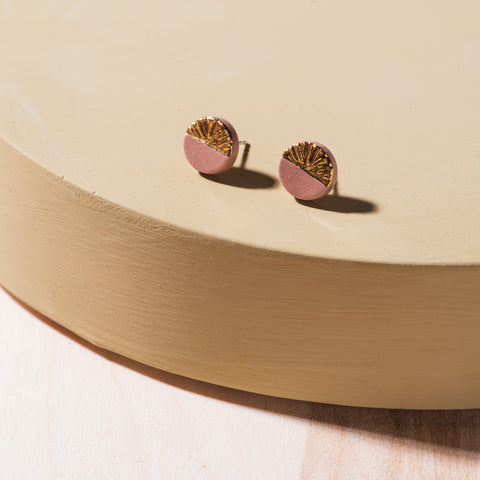 taupe and gold circular porcelain and gold earrings
