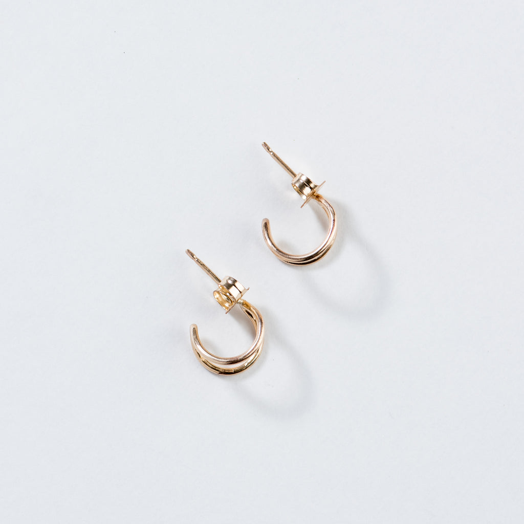 gold lobe-hugger earrings