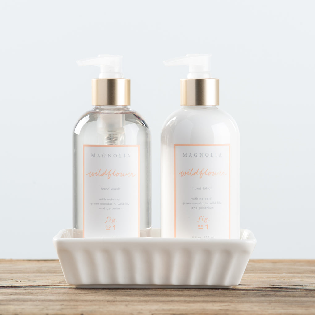 hand wash and lotion set in ceramic caddy