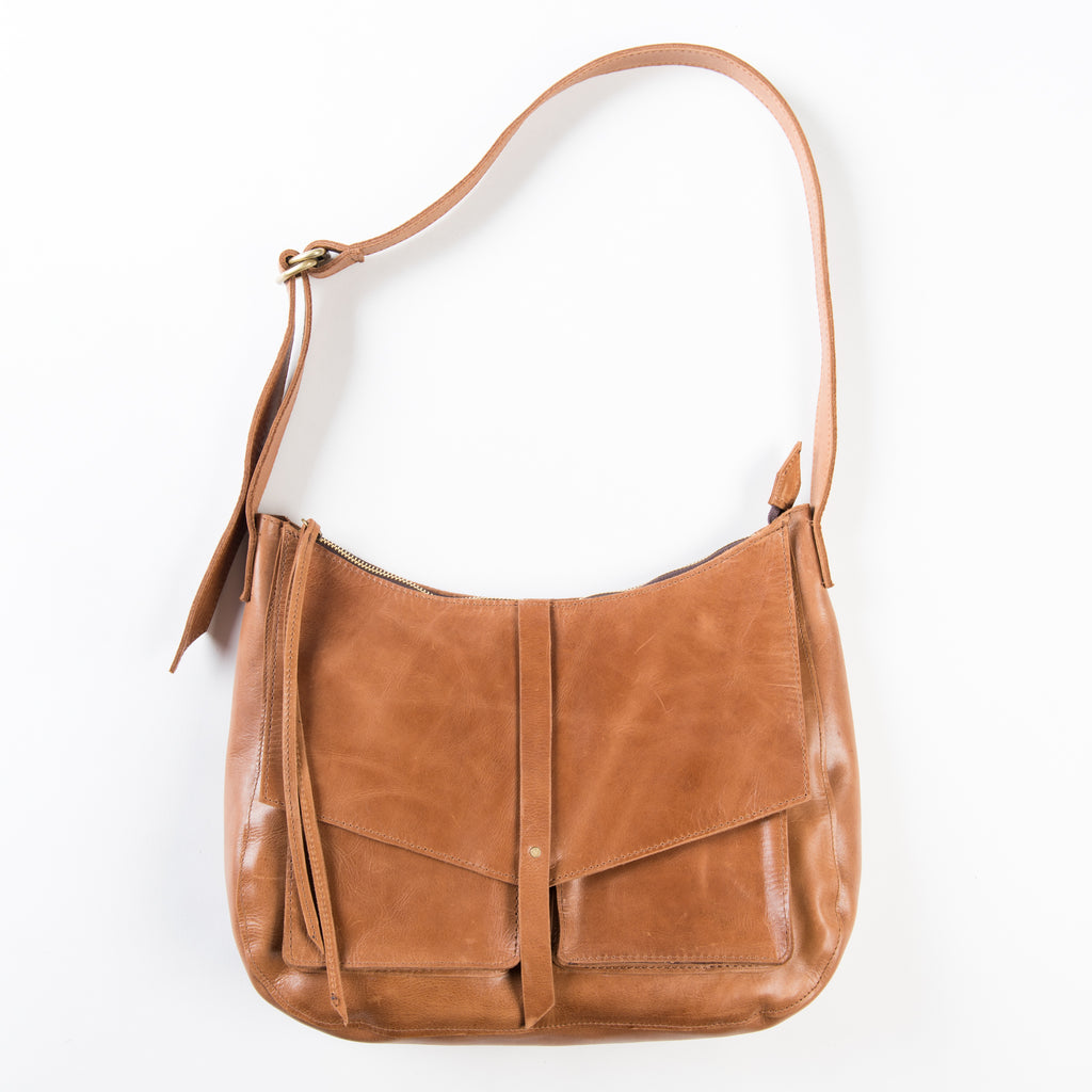 cognac leather crossbody bag or purse