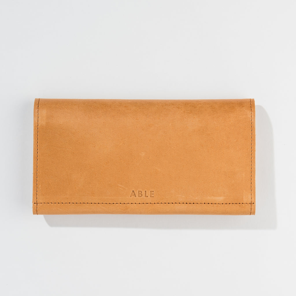 camel leather fold-over wallet