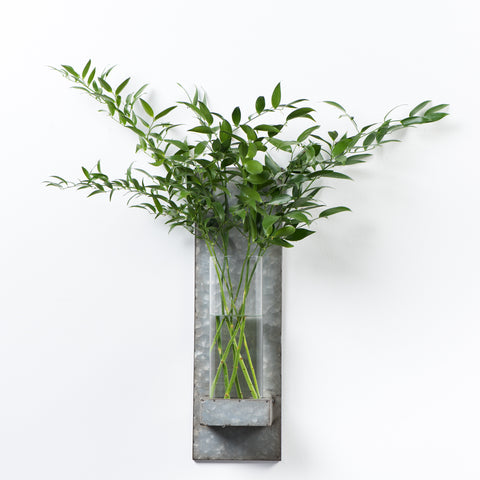galvanized and glass wall vase