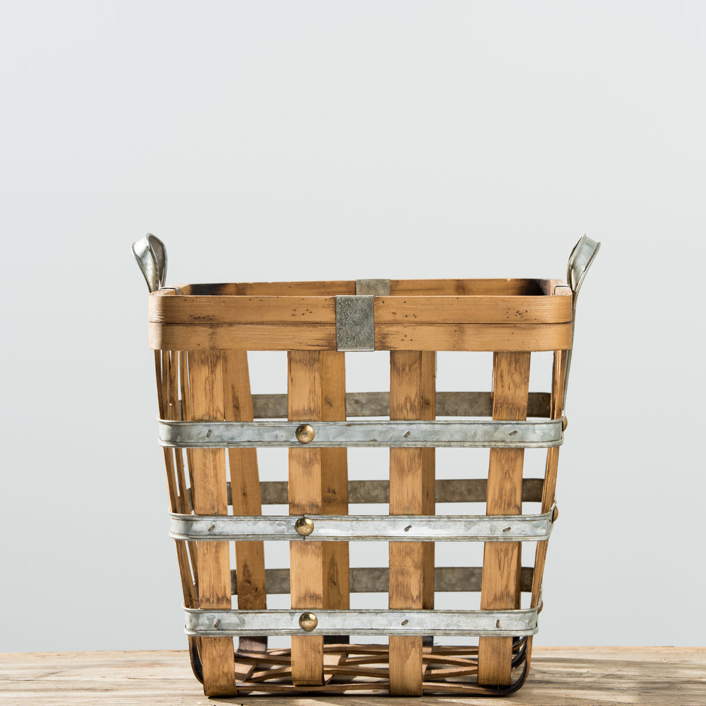 small galvanized metal and wood grid basket with handles