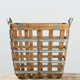 large galvanized metal and wood grid basket with handles