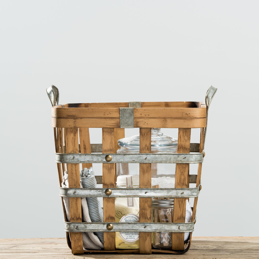 galvanized metal and wood grid basket with handles