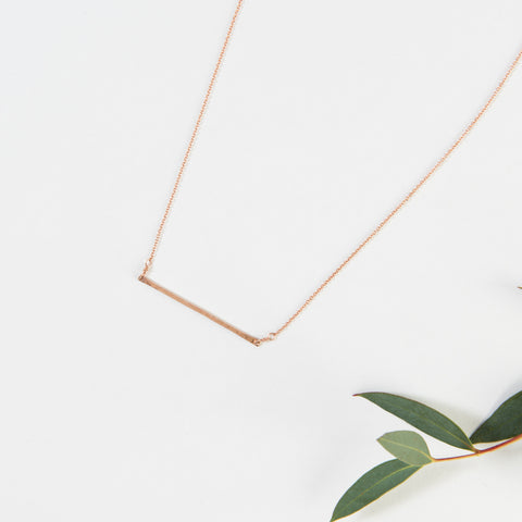 thin rose gold bar necklace