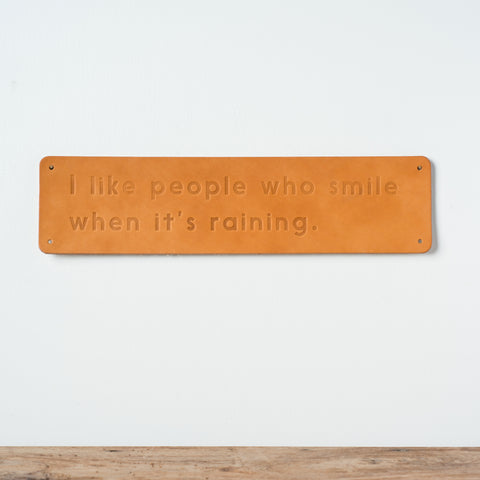 """I like people"" Leather Sign"