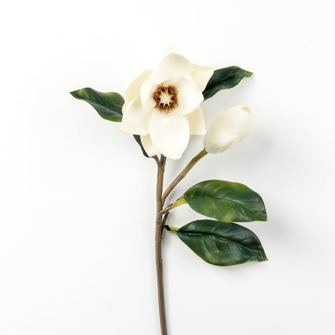 faux magnolia stem with bloom and bud