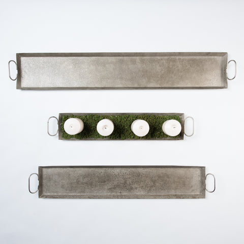 metal rectangular tray with handles