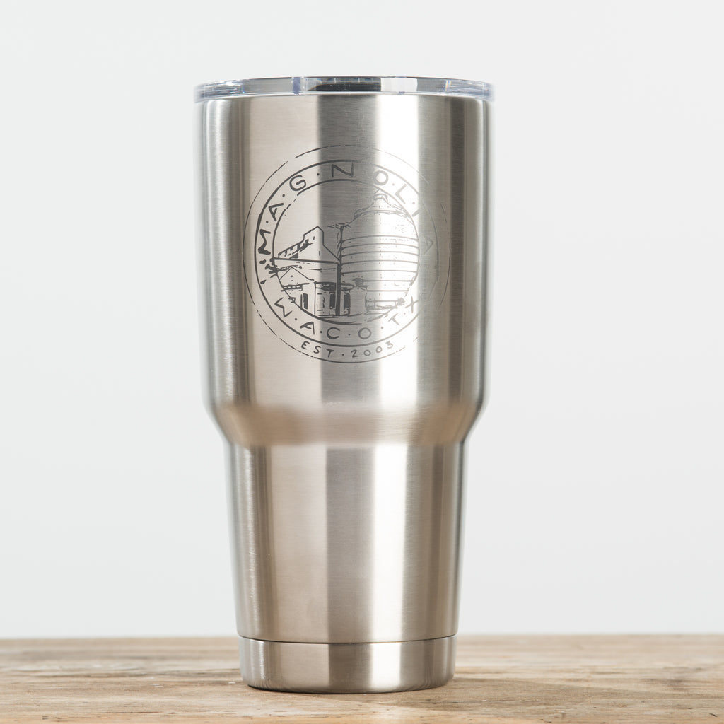 double-walled 30 ounce stainless steel tumbler with magnolia logo