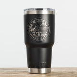 black double-walled stainless steel 30 ounce tumbler with magnolia silos seal logo