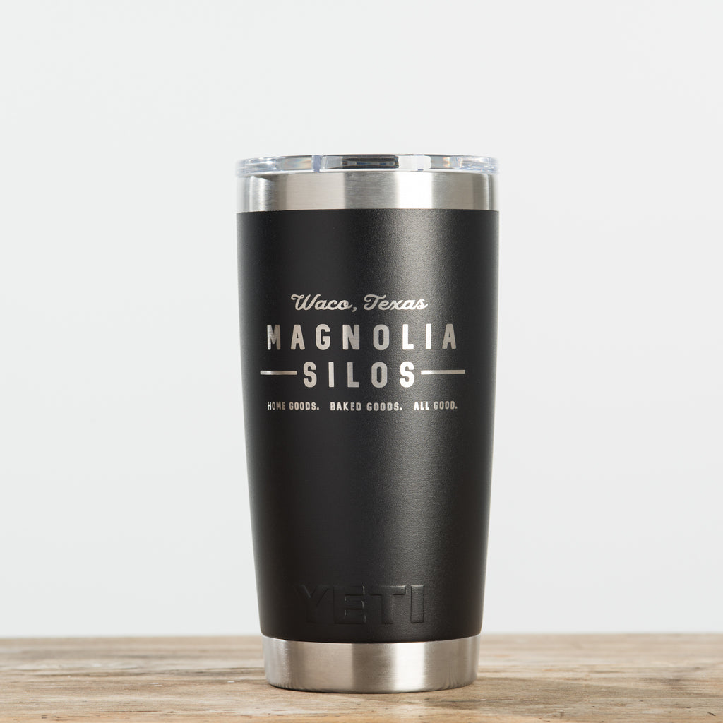 black double-walled stainless steel 20 ounce tumbler with magnolia silos mural logo