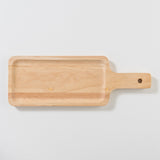 wood tray with paddle style handle