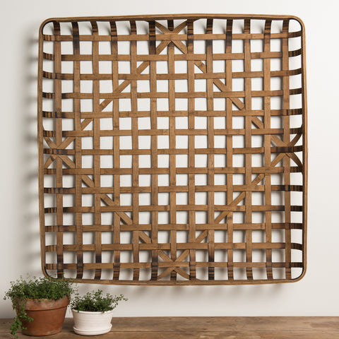 woven wooden decorative wall basket