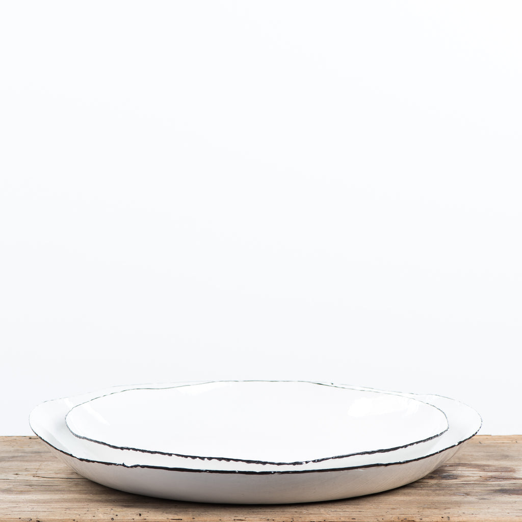Enamel Black and White Tray