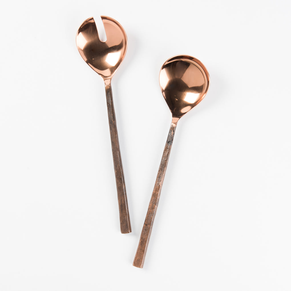 copper salad serving utensils