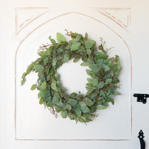 Fake seeded Eucalyptus Wreath