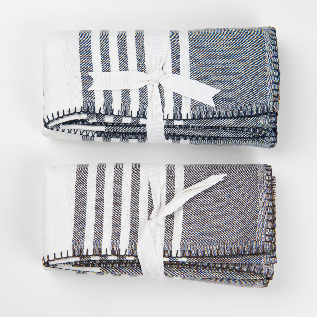 grey and white striped cotton throw