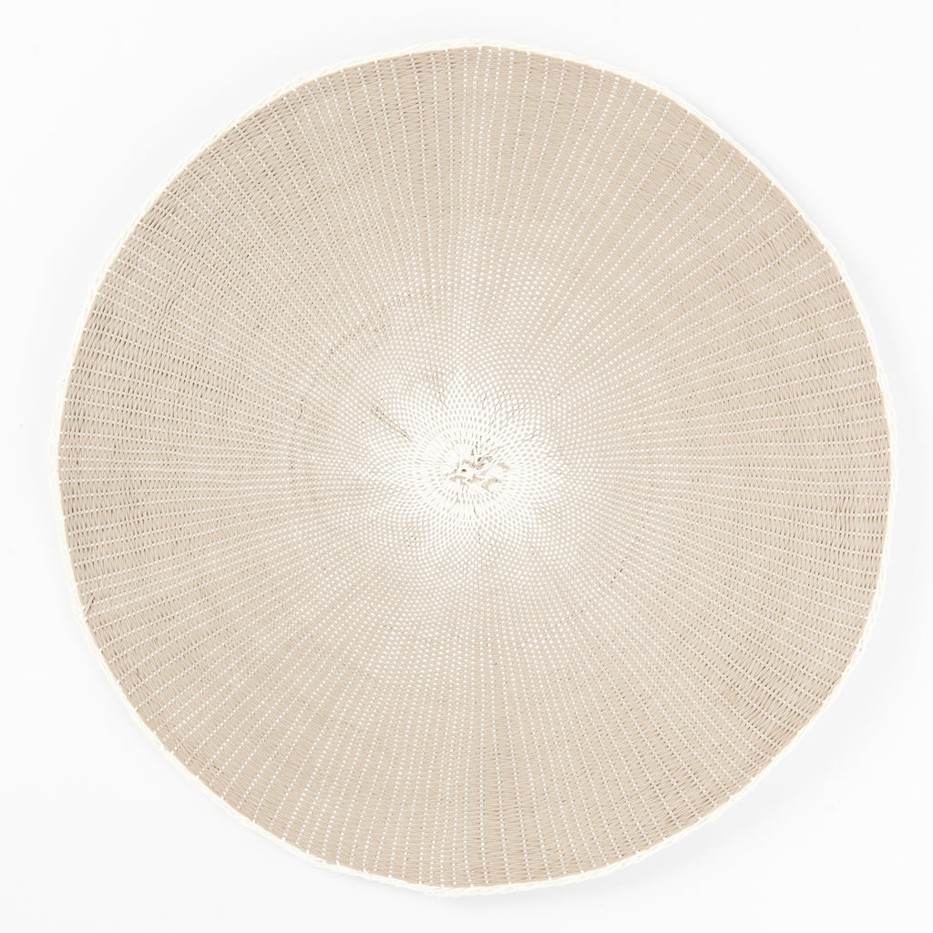 Round taupe placemat with white middle