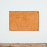 leather quote sign with debossed quote by Alfred Lord Tennyson
