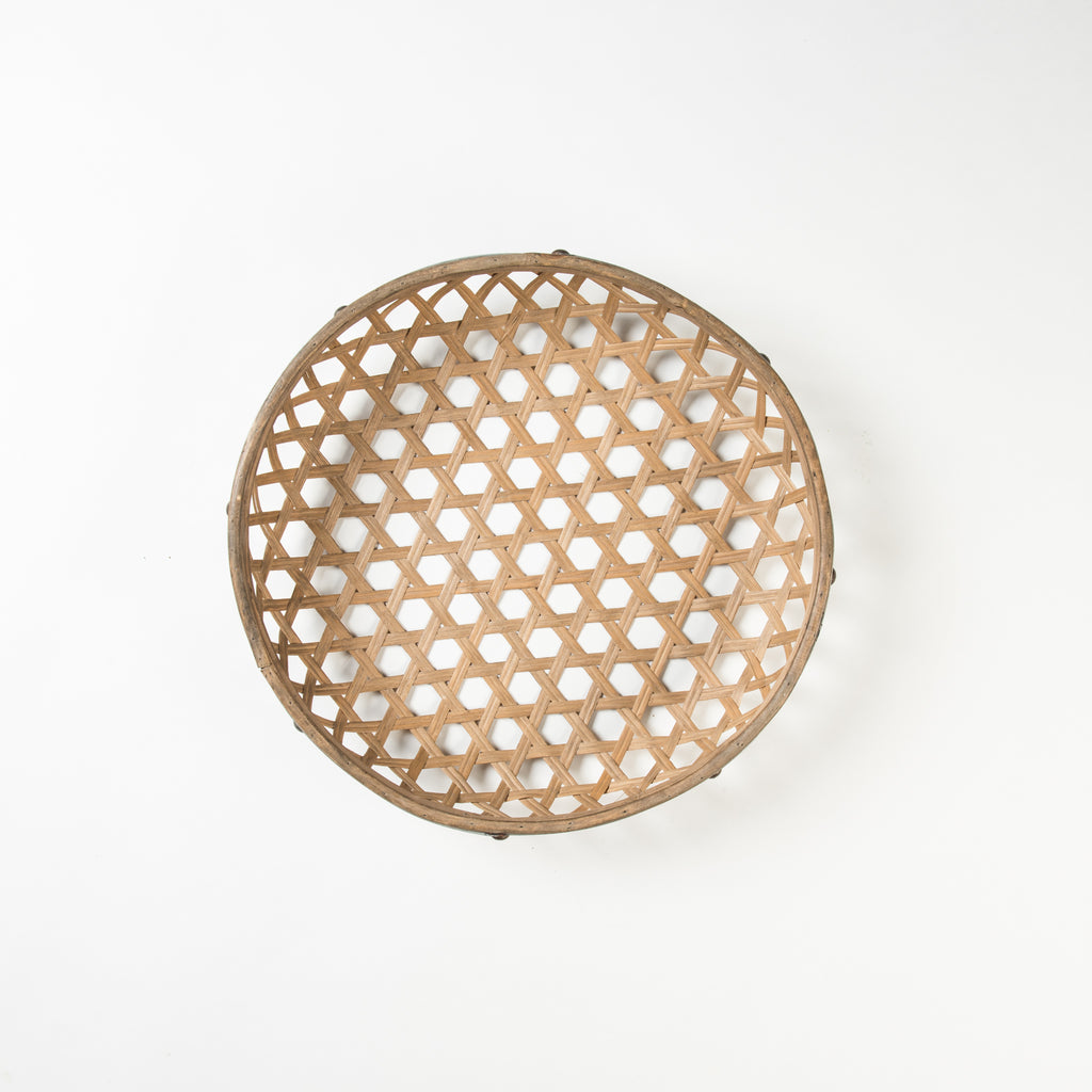 woven wood basket with metal rim
