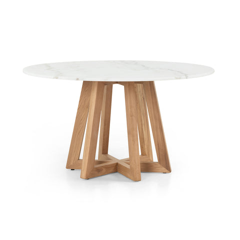 white marble modern round dining table with oak pedestal base