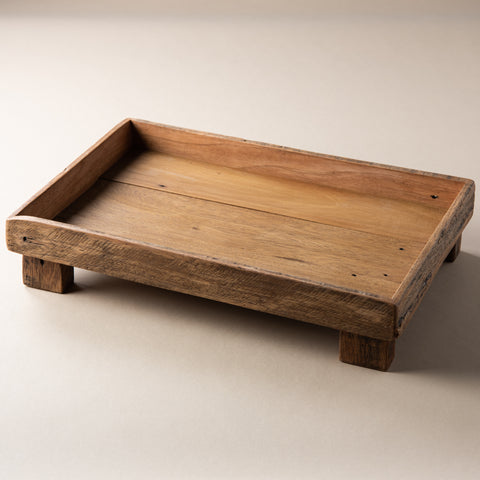 reclaimed wood footed rectangular tray