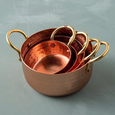 Hammered Copper & Gold Measuring Cups
