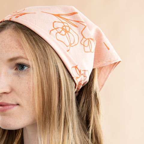 blush bandana with orange floral print