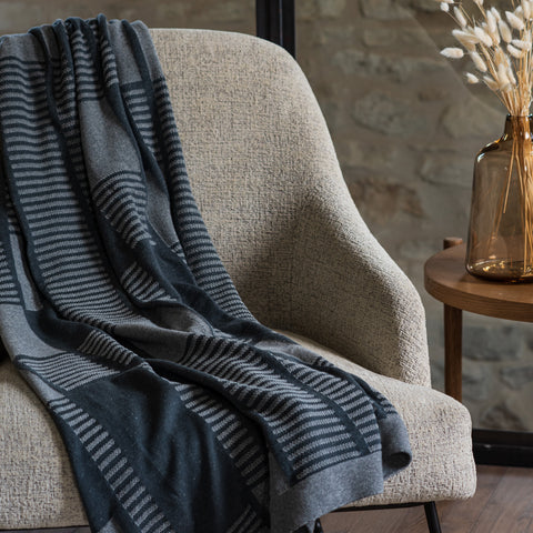 charcoal and heathered grey modern throw blanket with striped pattern