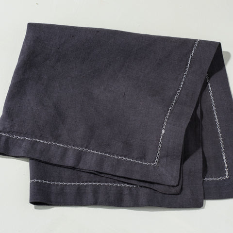 Grey Napkin with Cream Stitching