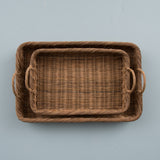 natural woven tray with handles