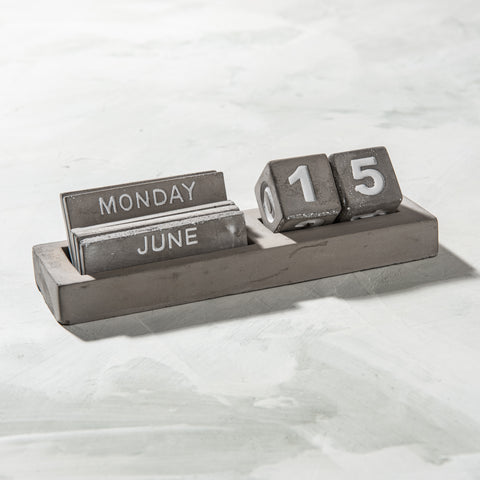 concrete desk calendar