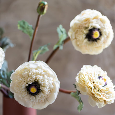 faux cream ranunculus bloom and stem