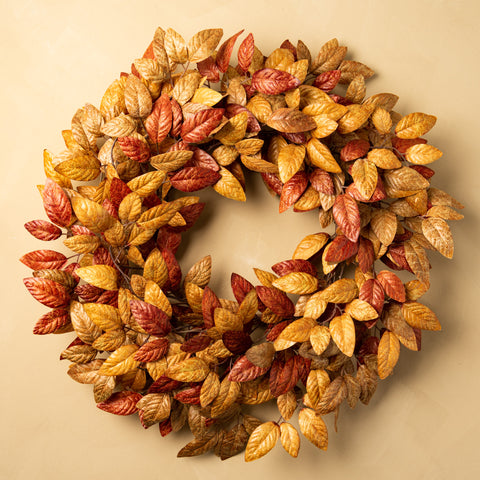 red and gold tones leaf wreath