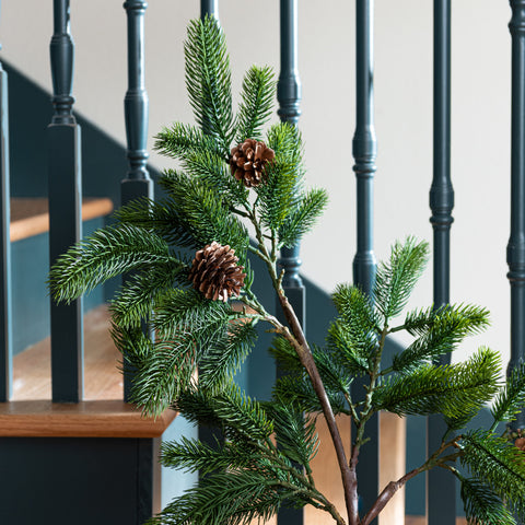 faux pine branch with pine cones