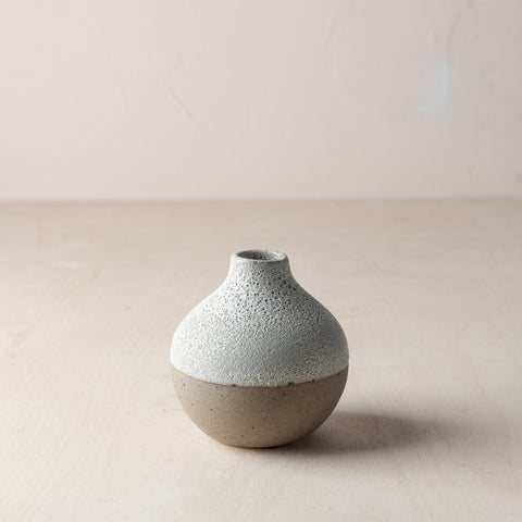 speckled textured white ceramic vase