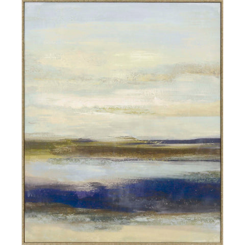abstract painting of hues of blue in a wooden frame