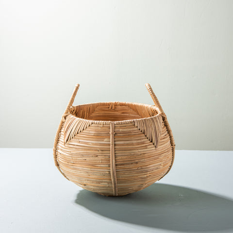 woven cane basket with handles