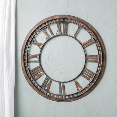 roman numeral wall clock frame only with rustic antique metal finish